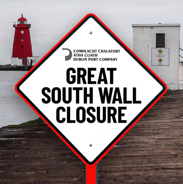 Dublin Bay's Great South Wall Closed Due to Tide Height & Dangerous Winds