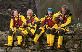 Arklow volunteer lifeboat crew Sinead Myler, Cox Ned Dillion and Jimmy Myler join marathon runner Mary Nolan Hickey to launch RNLI Mayday 2018