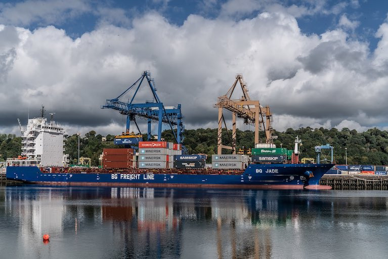 A Container ship at Tivoli dock in the Port of Cork