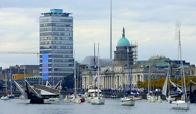 Not quite Venice perhaps, but quite something for Dublin – the CAI fleet at the Customs House, September 2015