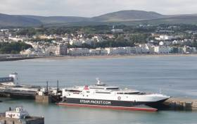 Seasonal services from Dublin and Belfast began this week to Isle of Man where above in Douglas fastferry Manannan is seen with the backdrop of the famous waterfront promenade.