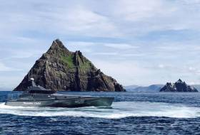 Safehaven Marine's World Record Attempt vessel Thunder Child off the Skelligs yesterday