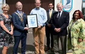 Pictured at the presentation of the €coMerit Certification to Dun Laoghaire Marina by Dún Laoghaire-Rathdown County Council, Dun Laoghaire Rathdown Chamber and the Environmental Protection Agency were,  left to right,  Ms Gabby Mallon, CEO, Dun Laoghaire Rathdown Chamber, An Cathaoirleach Cllr. Ossian Smyth, Mr Paal Janson, General Manager, Dun Laoghaire Marina, Dr Shane Colgan , Manager, Resource Efficiency Unit, the Environmental Protection Agency, Mr John Bourke, Chairman, Marina Marketing and Management Ltd. and Ms Aileen Eglington President, Dun Laoghaire Rathdown Chamber.