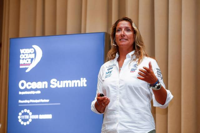 Dee Caffari speaking at the Cape Town Ocean Summit on Thursday 7 December