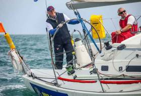 "Busy men. Mark Mansfield on the wheel and Maurice ""Prof"" O'Connell optimising the trim on Dave Cullen's J/109 Euro Car Parks at the start of the Volvo Round Ireland Race 2016, in which they won their class - the only Irish boat to do so. While the boat - in her other life, she's the Kelly family's Storm - has been an ICRA ""Boat of the Year"" in past seasons, at last weekend's ICRA National Conference in Limerick, Mark Mansfield was present to collect the ""Boat of the Year"" award on behalf of John Maybury's J/109 Joker 2, his regular mount. And the Prof was there to tell us about winning the Melges 24 Worlds in Conor Clarke's Melges 24 Embarr"
