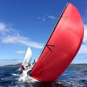 Andrew Craig's Chimaera leads the 14-boat RC35 in Tarbert