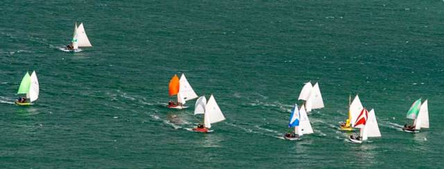 Howth 17s revelling in a good westerly breeze – the new 2019 'National' Champion Deilginis is on the extreme right, overall runner-up Leila is third from left, and third-placed Oonagh (yellow hull) is third from right