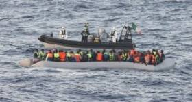 A RIB deployed from LE Roisin on SAR migrant duties