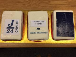 Cakes to celebrate 40 years of the J24 Nationals at Lough Erne Yacht Club last night
