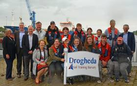 The newly skilled tall ship trainees with bursary sponsors after the week-long adventure on the Brian Ború
