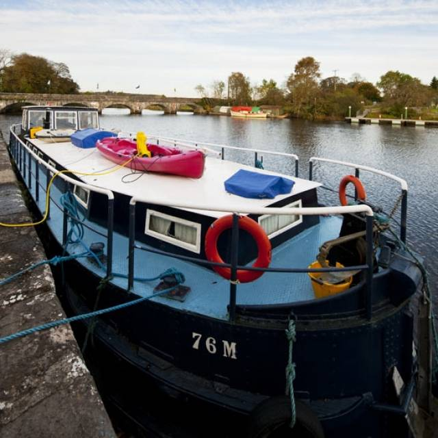 Heritage barge 76M at Jamestown Weir on the Shannon in Co Leitrim