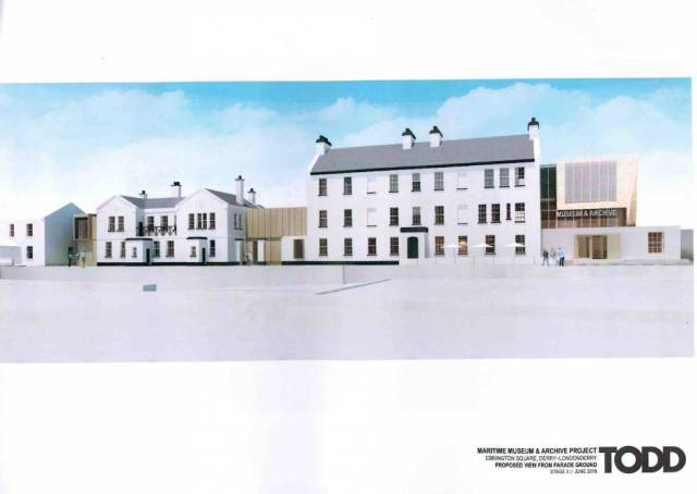 An architect's image of the Maritime Museum & Archive Centre in Derry would look like in the Waterside area of the city