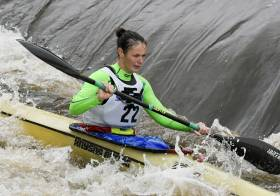 Jenny Egan competes at the 2016 Liffey Descent
