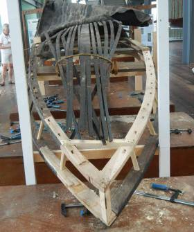 The Naomh Gobnait under restoration in Spain this week