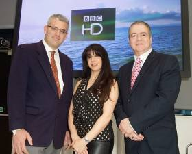 At the launch of BBC HD: Travis Peterson (VP Product Global Eagle Entertainment), Zina Neophytou (VP Out of Home BBC Worldwide) and Graham Douglas (Media & Communications Manager Carnival UK)