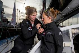 Imoca 4myPlanet skippers Alexia Barrier (right) and Joan Mulloy posing during pre-start of the Transat Jacques Vabre 2019, duo sailing race from Le Havre, France, to Salvador de Bahia, Brazil, on October 19, 2019 in Le Havre, France