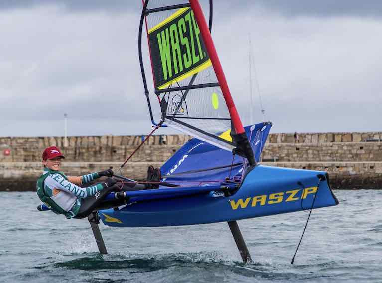 Top ranked Waszp sailor Charlie Cullen in action in Dun Laoghaire Harbour