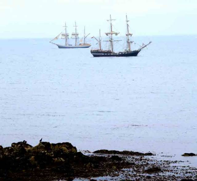 Earl of Pembroke (foreground) moored in Scotsman's Bay and Kaskelot on her way to Dun Laoghaire Harbour in advance of Dublin Port's Riverfest on the River Liffey this weekend
