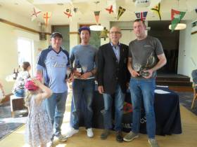 Darragh Mc Cormack from Foynes Yacht Club with crew Johnny Dillon and Noel Mc Cormack, overall winners at this year's Skerries Regatta.