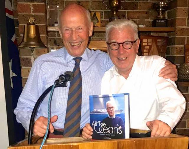 Sailmaker Johnny McWilliam (left) and designer Ron Holland at yesterday's Australian launch of Ron's new book of memoirs at the Royal Yacht Cub of Victoria in Melbourne