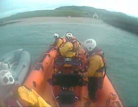 Skerries RNLI towing the RIB with engine issues to safety from Lambay Island