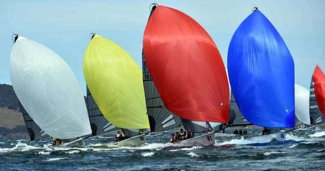 Action at the SB20 Pre Worlds in Hobart