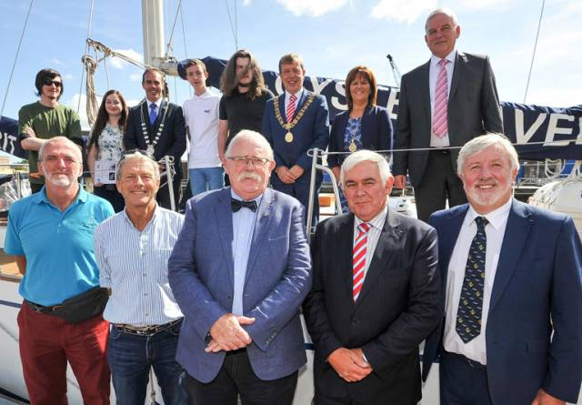Lord Mayor Tony Fitzgerald, County Mayor Declan Hurley, Brendan Keating, Ceo, Port Of Cork And Commodore Hugh Tully, F.o.c.n.s. Welcomed Young People That Sailed As Part Of The Cork Sail Training Bursary Scheme 2017