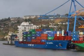 BG Diamond on its maiden call to the Port of Cork having berthed at Tivoli Container Terminal more than a year ago. AFLOAT adds the Chinese built containership operated by BG Freight Line is a subsidiary of the UK based Peel Ports Group, see today's related story under Ports & Shipping.