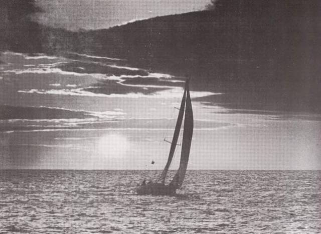 Dawn patrol 1980, with an unforgettable experience many have shared since. It is the finish of the first Round Ireland Race at Wicklow, with Dave FitzGerald's 40ft Partizan from Galway coming out of the sunrise to place second in line honours. The Sailing Instructions for the first race are viewable below