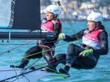 Katie Tingle (left) sailing with Annalise Murphy in the Olympic 49erFX dinghy last year