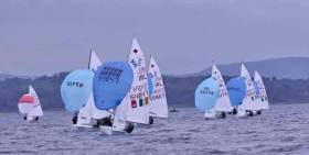Gemma McDowell & Emma Gallagher (Malahide) lead the 420s from Geoff Power & James McCann and Kate Lyttle & Niamh Henry (RSTGYC) racing on Belfast Lough from Ballyholme YC. After two days, Power of Dunmore East holds the lead