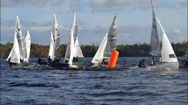 GP14s racing on Lough Erne at the Hot Toddy event