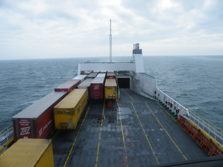 The Irish Road Hauliers' Association has sought clarity from the Dept. of Transport on whether (freight) drivers can get single cabins on ferries or be allowed to sleep in their trucks. AFLOAT's photo of unaccompanied trailers on the upper deck of Seatruck Pace, a P' class ro-ro freight ferry with a 110 freight-unit /2,930 lane metres capacity and which operates Dublin-Liverpool. In addition Afloat adds limited space for passengers (only with vehicles) were also carried, but due to COVID-19, Seatruck has now stopped carrying HGV drivers along with motorist passengers.