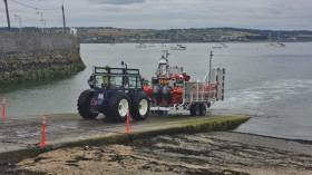 Skerries RNLI recover their Atlantic 85 lifeboat after the callout