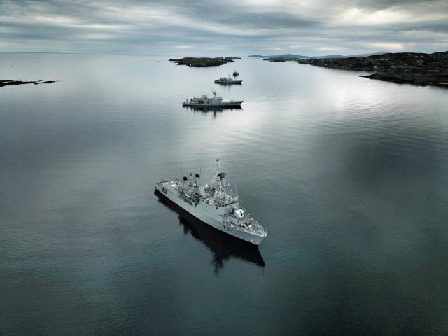 The €10.1 million package of measures will centre on increases in allowances paid to members of the Defence Forces rather than rises in core pay. Above AFLOAT adds the Naval Service conducted its annual fleet exercise FLEX in recent weeks and where four of the 9-strong fleet took part are seen at anchorage off the south coast among them in the foreground flagship LE Eithne (see related story link below).