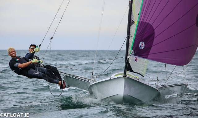 A thumbs up from Ryan Seaton and Seafra Guilfoyle on Dublin Bay this summer. The duo, along with a rival Howth pairing, will seek Tokyo Qualification in December in Auckland