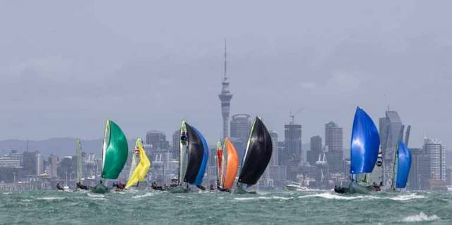 49ers racing at the Oceania Championships in Auckland