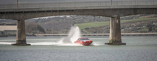 Vector Martini speeding under Haulbowline Bridge