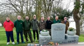 Portadown Pikers Angling Club members pictured laying wreaths at the Coosan Point Memorial