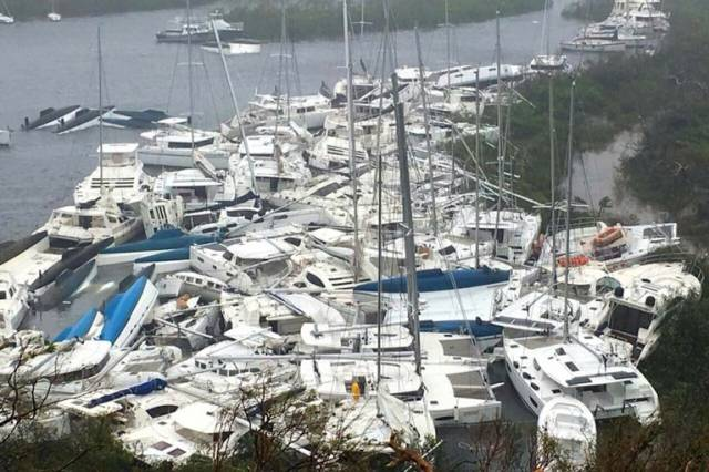 "It could be anywhere in the northern Caribbean, but this scene of total harbour devastation is how things look this morning in a sheltered port previously thought to be a reliable ""Hurricane Hole"""