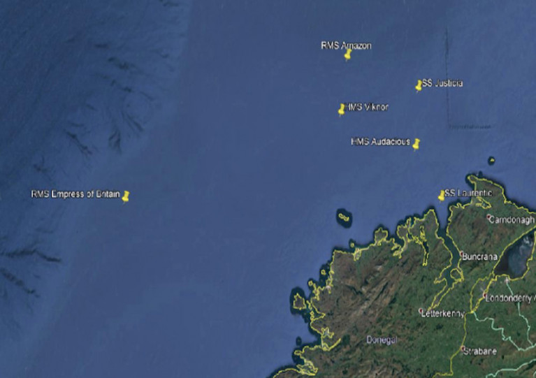 Locations of the wreck sites off Co Donegal that will be surveyed from the RV Celtic Explorer from next week