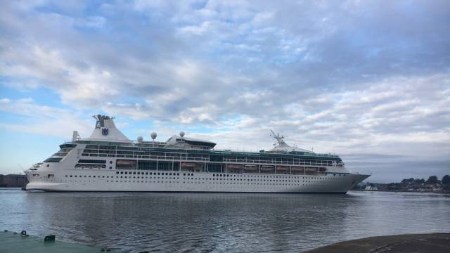 Vision of the Seas arriving Cobh this July during a transit call.