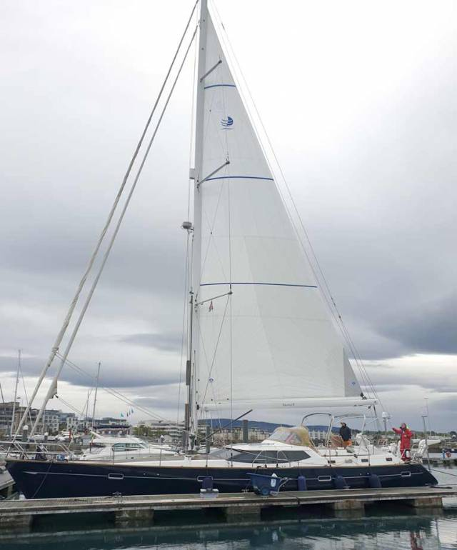 Tangaroa 2 in Dun Laoghaire Marina with her new mainsail from North Sails Ireland