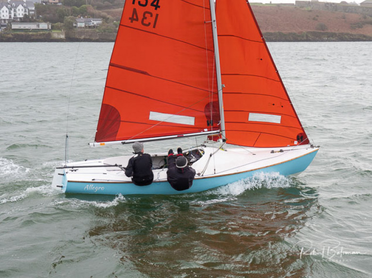 Kinsale Squib duo Colm Dunne and Rob Gill sailing in Kinsale Harbour