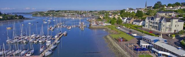 Crosshaven Boatyard visible beyond the Royal Cork Yacht Club