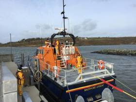 The all-weather lifeboat Alan Massey is prepped for the day's first callout, a medevac from Heir Island