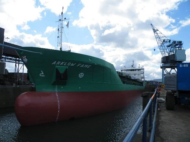 Historic day: Arklow Fame on Wednesday became the final ship to use Dublin Graving Docks (the largest in the republic) that officially closed yesterday