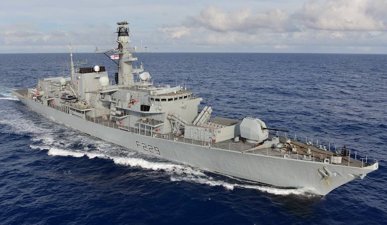 Royal Navy's HMS Lancaster - told Irish trawler off the coast of Donegal to move 'for safety reasons'