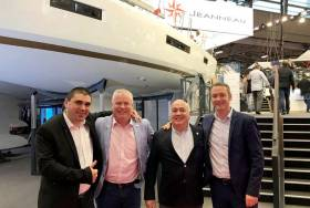 At the Paris Boat Show this week is Jeanneau executive Jean-Philippe Brun, MGM's Gerry Salmon and John O'Kane with Antoine Chancelier also of Jeanneau