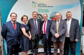 Speakers at the seafood sectoral gialogue on Brexit: Patrick Murphy; Bord Bia CEO Tara McCarthy; Marine Minister Michael Creed; Sean O'Donohue of the Killybegs Fishermans' Association, Lorcán Ó Cinnéide of the Irish Fish Processors and Exporters Association; and Dr Cecil Beamish of the Department of Agriculture, Food and the Marine